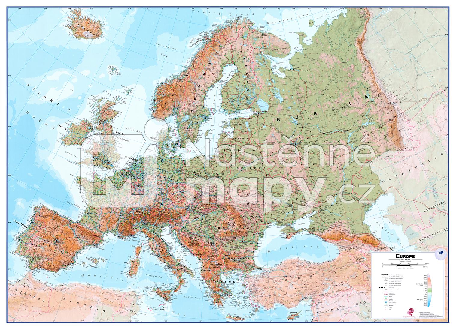 Nastenna Mapa Evropa Fyzicka Nastenne Mapy Cz